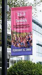 Banner welcomes breast cancer marathon runners to the Florida campus.